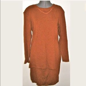 COLDWATER CREEK PETITES BROWN TUNIC SKIRT OUTFIT